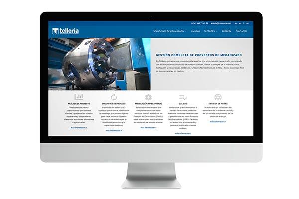 Web de Telleria dirigida a la gestión de proyectos del sector mecanizado