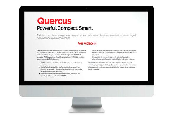 Web para el lanzamiento del producto «Quercus» de Fagor Automation